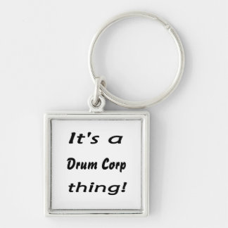 It's a drum corp thing! Silver-Colored square keychain