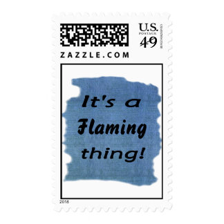 It's a flaming thing! postage stamp