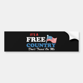 It's a Free Country Don't Tread On Me Car Bumper Sticker