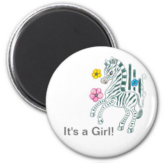 It's A Girl 2 Inch Round Magnet