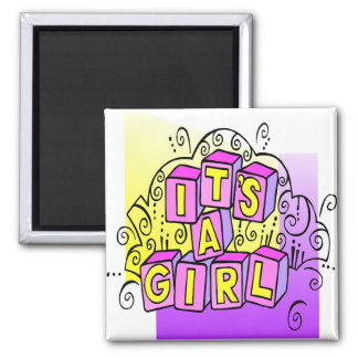 It's A Girl 2 Inch Square Magnet