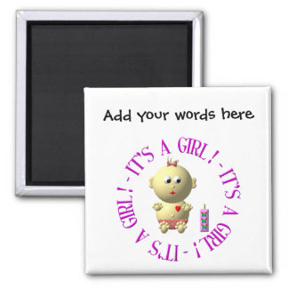 It's a girl! 2 inch square magnet