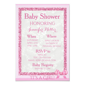 """""""It's a Girl"""" Adorable Pink Baby Shower Invitation"""