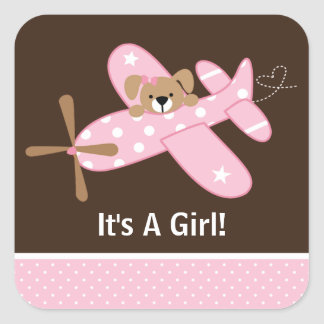 It's A Girl Airplane Baby Birth Announcement Sticker