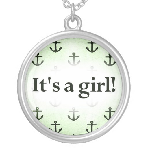 It's a Girl! Anchor Pattern Baby Green Round Pendant Necklace