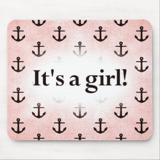 It's a Girl! Anchor Pattern Pink Mouse Pad
