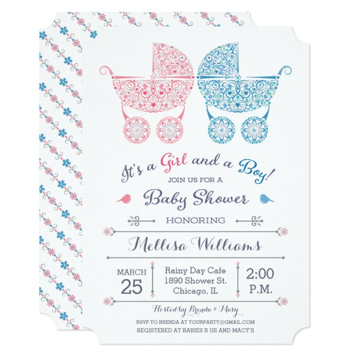 It S A Girl And A Boy Twins Baby Shower Invite Zazzle Com