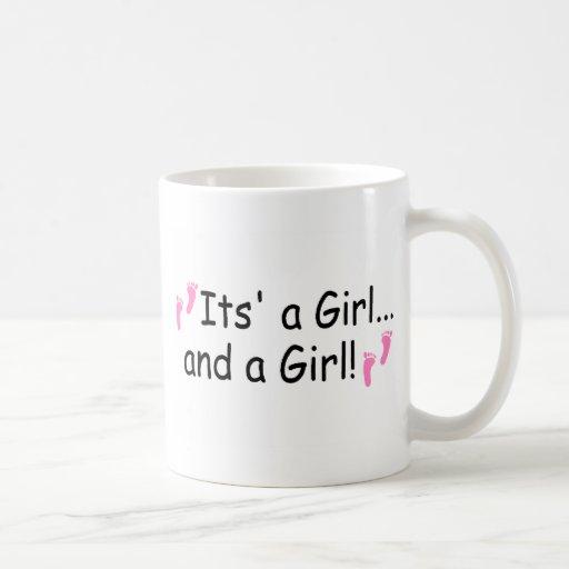 Its A Girl and A Girl Twin Girls Mugs