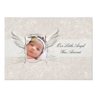It's A Girl Angel Wings Birth Announcement Personalized Announcement