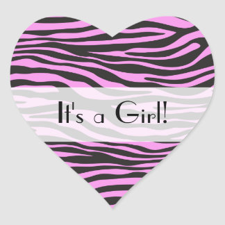 It's a Girl - Animal Print, Zebra Stripes - Pink Heart Sticker