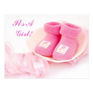 It's A Girl! Announcement Card Postcard