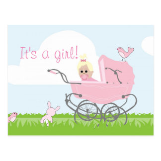 It's a girl announcement postcard