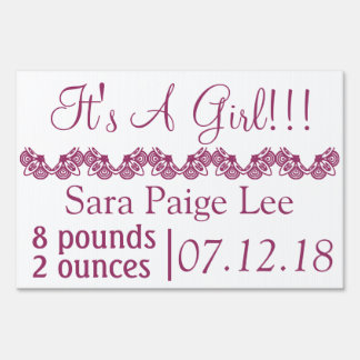 It's a girl announcement sign