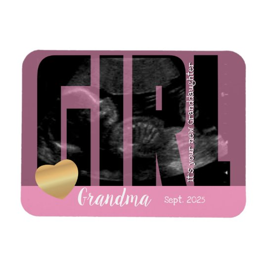it s a girl announcement sonogram with diy text magnet zazzle com