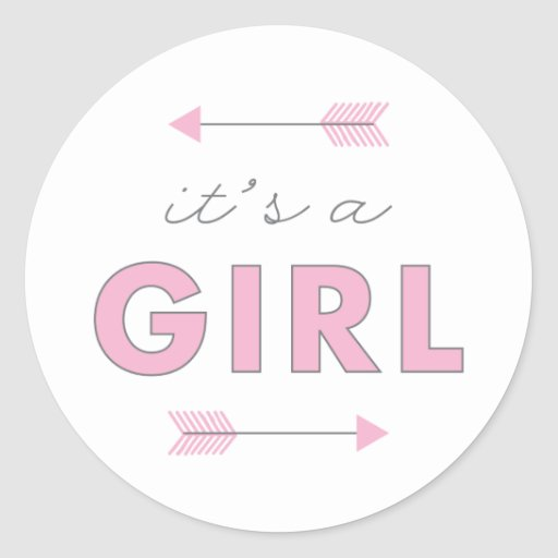 It's a Girl Arrow Baby Shower Birth Announcement Classic Round Sticker