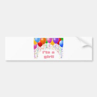 It's a girl!  Baby Announcement Bumper Sticker