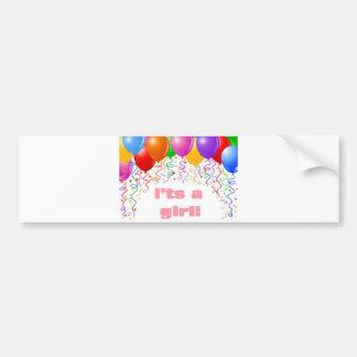 It's a girl!  Baby Announcement Car Bumper Sticker