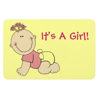 It's A Girl Baby Announcement Cute Cartoon Magnet