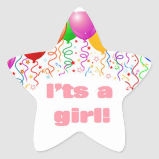It's a girl!  Baby Announcement Star Sticker
