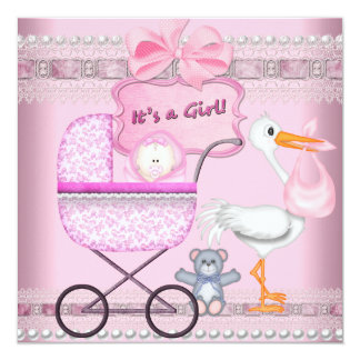 It's A Girl Baby Anouncement Pink Pram Card