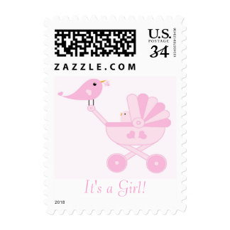 It's a Girl Baby Bird Postage
