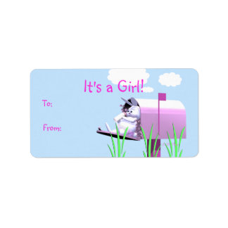 Its a Girl - Baby Bunny in Mailbox Gift Tag Custom Address Labels