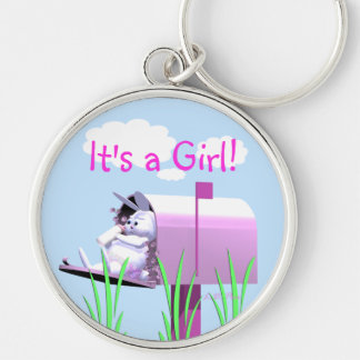 Its a Girl - Baby Bunny in Mailbox Keychain