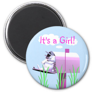 Its a Girl - Baby Bunny in Mailbox Magnet