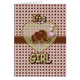 It's A Girl | Baby Elephant Stationery Note Card