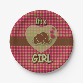 It's A Girl | Baby Elephant Paper Plate