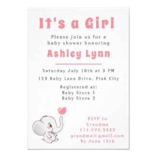 It's A Girl Pink Elephant Baby Shower Invitations Simple