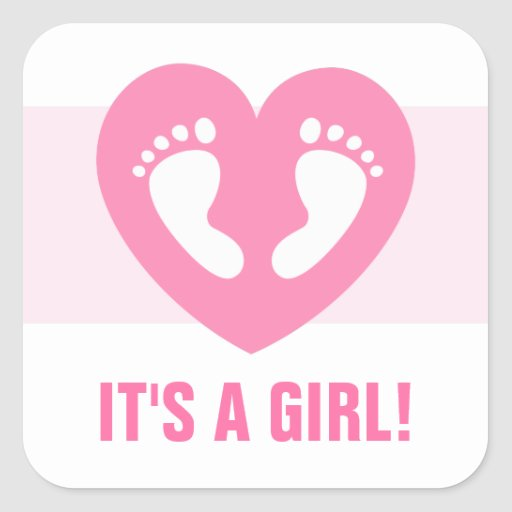 Its a girl baby footprints in pink heart stickers