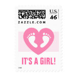 Its a girl baby footprints on pink heart stamps
