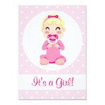 "It's a Girl Baby Girl Design 5"" X 7"" Invitation Card"
