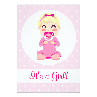 It's a Girl Baby Girl Design Personalized Invitations