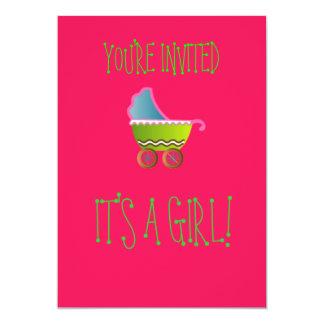 It's a Girl Baby Invitations! 5x7 Paper Invitation Card