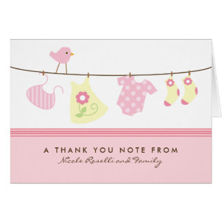 It's a Girl Baby Laundry Thank You Card (pink)