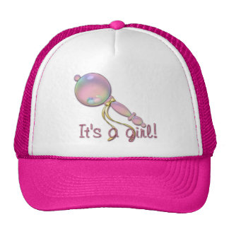IT'S A GIRL BABY RATTLE by SHARON SHARPE Trucker Hat