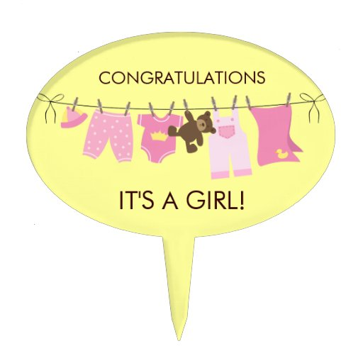 it 39 s a girl baby shower cake topper zazzle