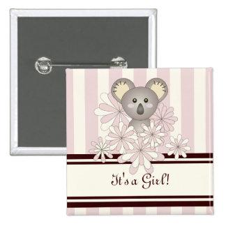 Its A Girl Baby Shower Cute Animal Koala Pink Pinback Button