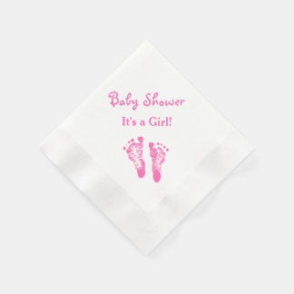 Its a Girl Baby Shower Cute Pink Footprints Paper Napkin