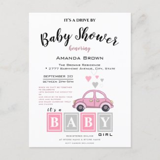 It's a Girl, Drive by Baby Shower Invitation Templates