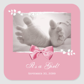 Its a Girl Baby Shower Elegant Birth Announcement Square Sticker
