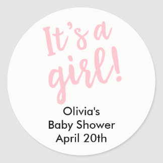 It's A Girl Baby Shower Favor Tag Pink