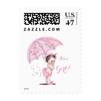 It's a Girl Baby Shower Girl Flowers Pink Umbrella Postage