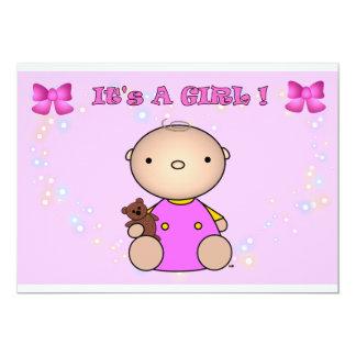 "It's A Girl - Baby Shower Invitation 5"" X 7"" Invitation Card"