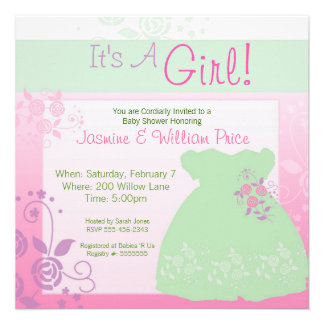 It's A Girl Baby Shower Invitation Pastel Dress