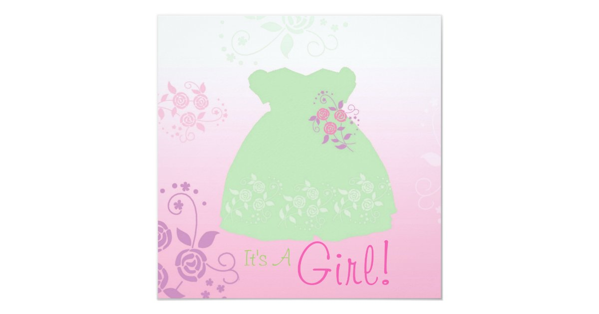 its a girl baby shower invitation pastel dress