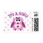 Its a Girl, BAby Shower Owl Postage Stamps