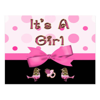 It's A Girl Baby Shower Pink & Gold Bling Post Cards